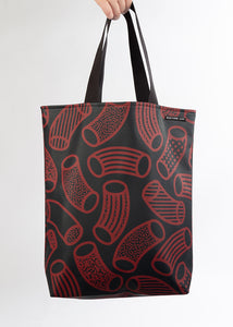 RILEY Macaroni print Navy and Claret Long Handle Tote in Vegan Leather