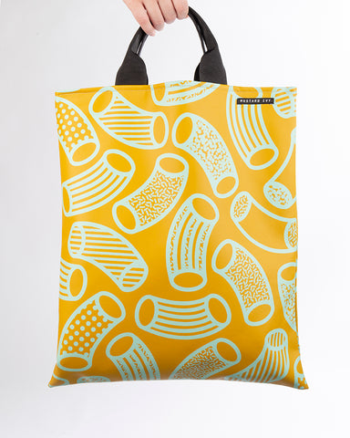 LOVELACE Mustard and Mint Macaroni Print Top Handle Tote Bag in Vegan Leather