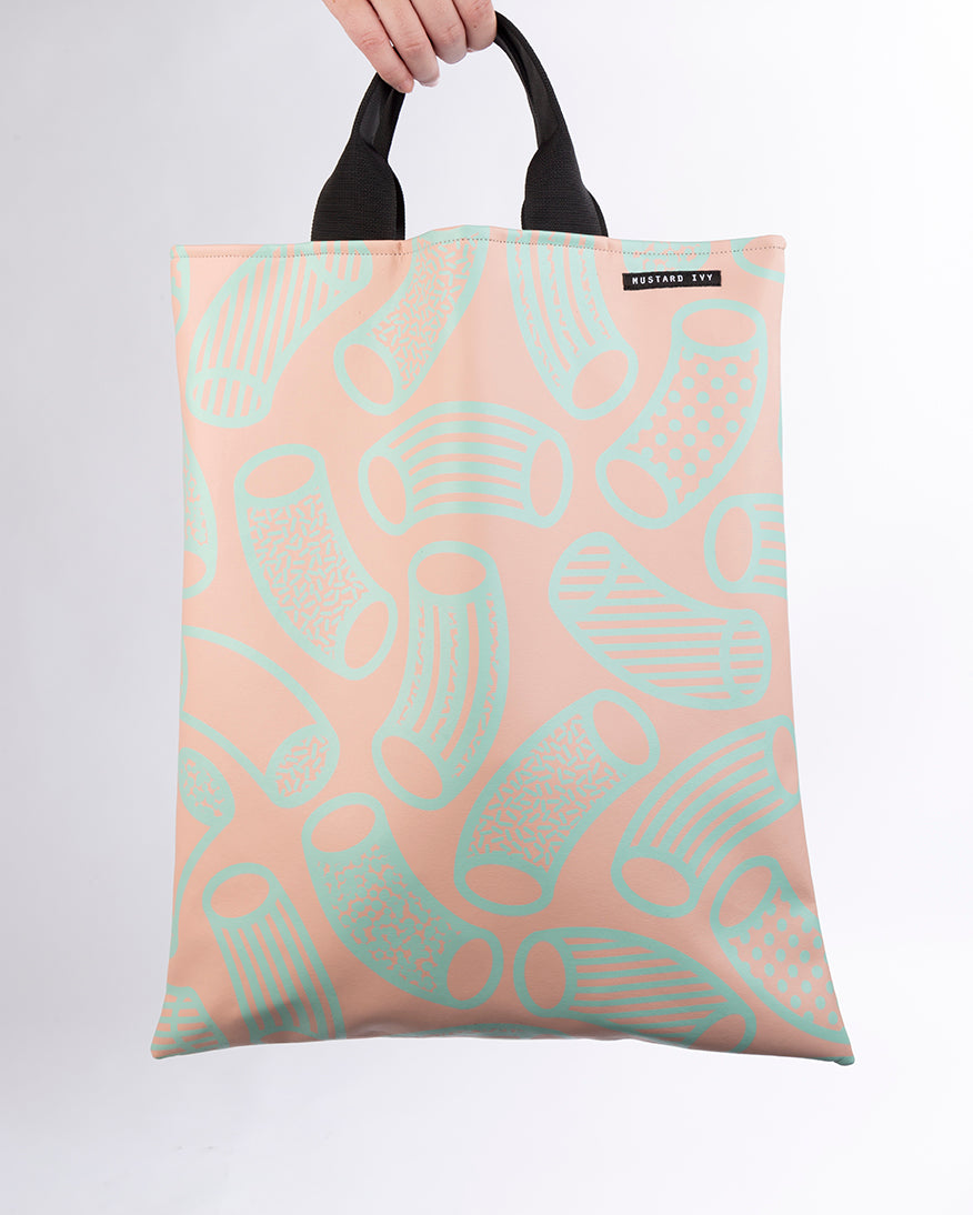 LOVELACE Pink and Mint Macaroni Print Top Handle Tote Bag in Vegan Leather