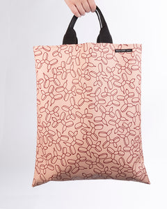 LOVELACE Pink and Claret Balloon Dog Print Top Handle Tote Bag in Vegan Leather