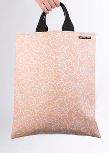 LOVELACE Pink and White Balloon Dog Print Top Handle Tote Bag in Vegan Leather