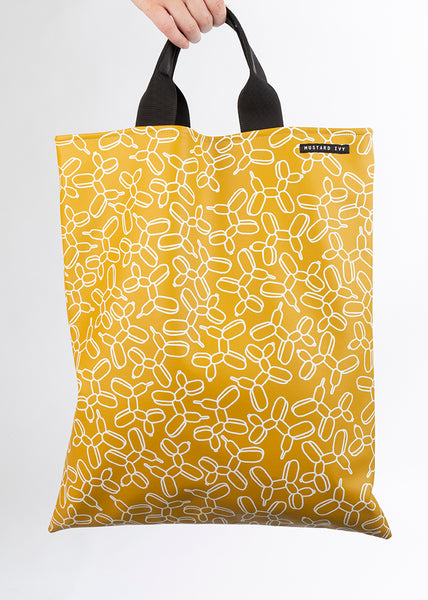 LOVELACE Mustard and White Balloon Dog Print Top Handle Tote Bag in Vegan Leather