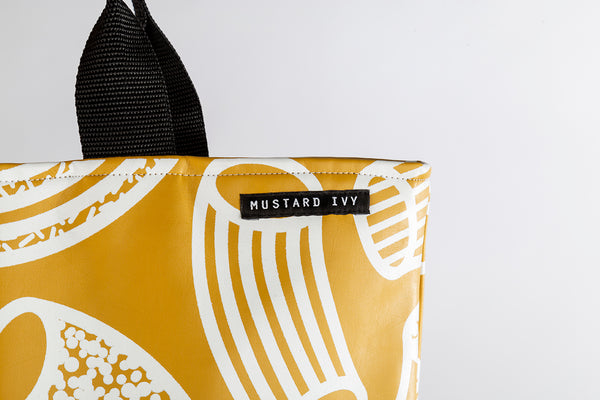 LOVELACE Mustard and White Macaroni Print Top Handle Tote Bag in Vegan Leather