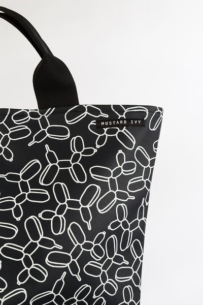 LOVELACE Midnight Navy and White Balloon Dog Print Top Handle Tote Bag in Vegan Leather
