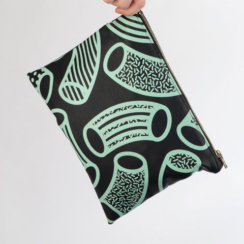 AGATHA Navy & Mint Macaroni Print Clutch Bag in Vegan Leather