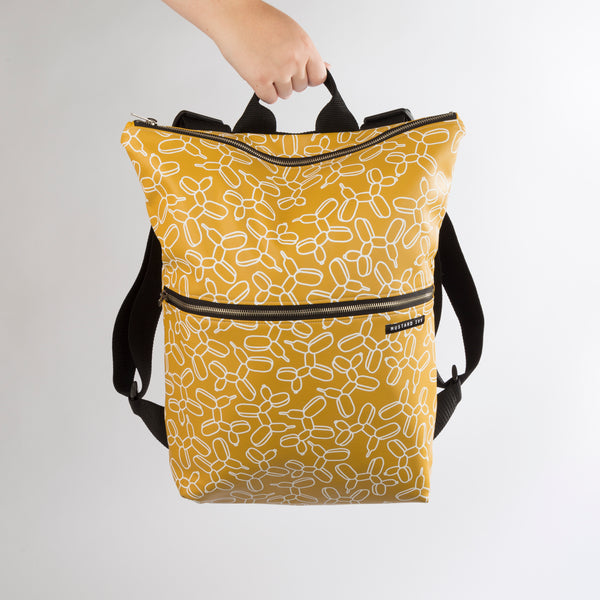 BEATRIX Mustard and White Balloon Dog Vegan Leather Backpack