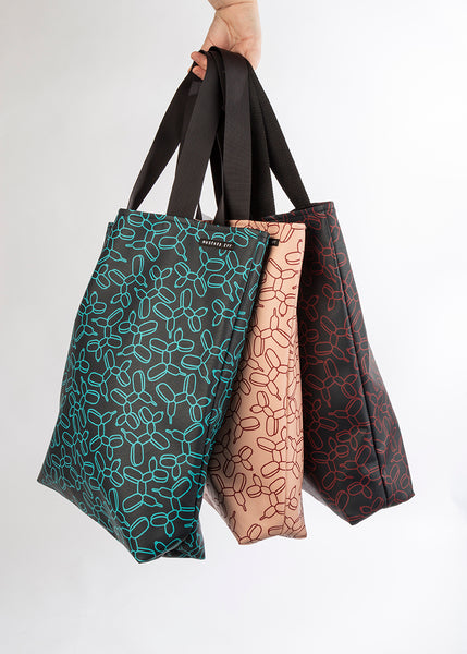 LOVELACE Midnight Navy and Turquoise Balloon Dog Print Top Handle Tote Bag in Vegan Leather