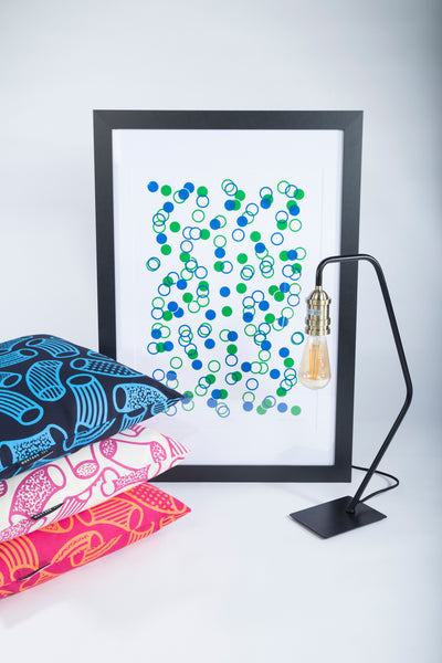 Limited Edition Unframed A2 Blue and Green Confetti Wall Print