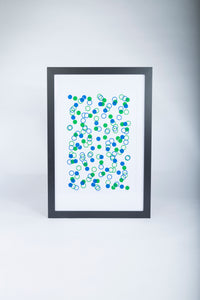 FRAMED Limited Edition A2 Blue and Green Confetti Wall Print