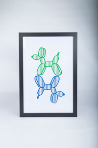 Limited Edition Unframed A2 Blue and Green Balloon Dog Stack Wall Print