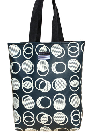 RILEY Circle Lap Print Long Handle Vegan Leather Tote