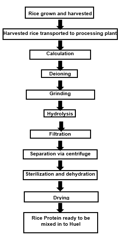 Flow-chart of how Huel's brown rice protein is produced