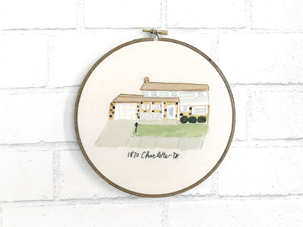 hand embroidered watercolor house portrait