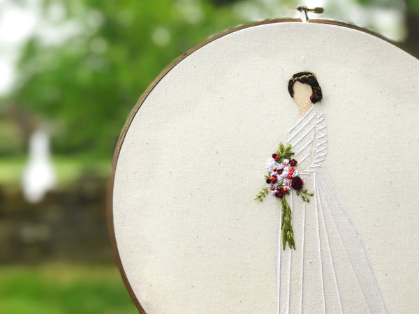 hand embroidered watercolor bridal portrait