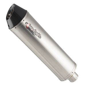 Lextek RP1 Matt S/Steel Oval Exhaust Silencer 51mm with Gloss Carbon Tip