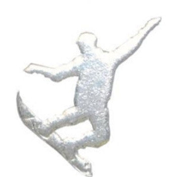 Silver Cracked Ice Snowboarder Cut Out for Centerpieces
