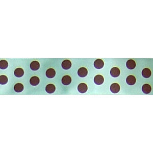 Aqua w/Chocolate Dots Ribbon