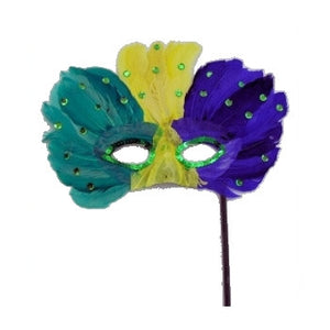 Feathered Mask on a Stick