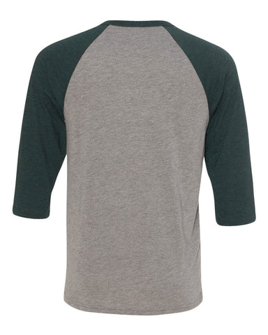2 - Baseball Raglan - Grey/Emerald Triblend
