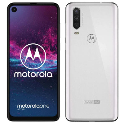 Motorola One Action (128GB, Dual Sim, White, Special Import)-Smartphones (New)-Connected Devices