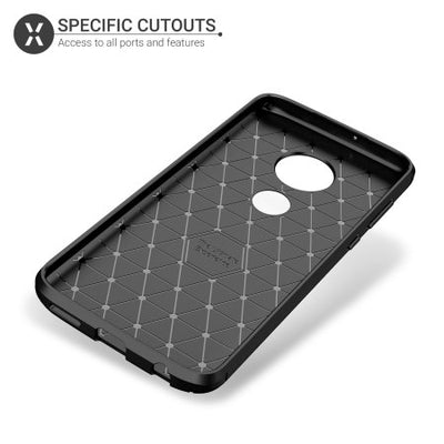 Olixar Carbon Fibre Case For The Motorola Moto G7 Plus (Black, Special Import)-Accessories - Smartphones - Cases-Connected Devices