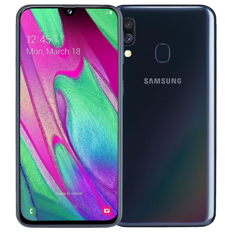 Samsung Galaxy A40 (64GB, 4GB RAM, Dual Sim, Black, Special Import)-Smartphones (New)-Connected Devices