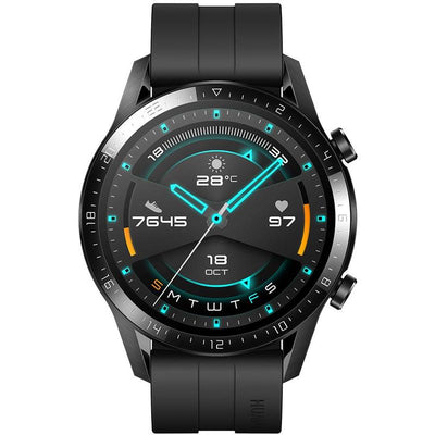 Huawei Watch GT2 Sport (Bluetooth, 46mm, Black Silicone Strap, Special Import)-Wearables (New)-Connected Devices