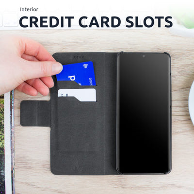 Olixar Leather-Style Oneplus 8 Pro Wallet Stand Case (Black, Special Import)-Accessories - Smartphones - Cases-Connected Devices