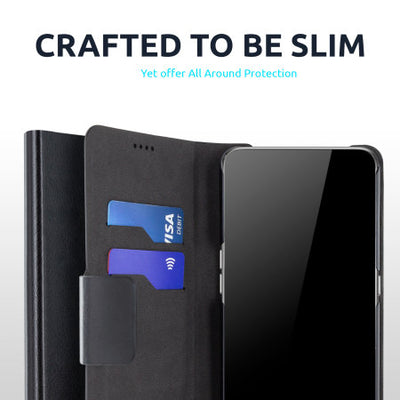 Olixar Leather-Style Oneplus 8 Wallet Stand Case (Black, Special Import)-Accessories - Smartphones - Cases-Connected Devices