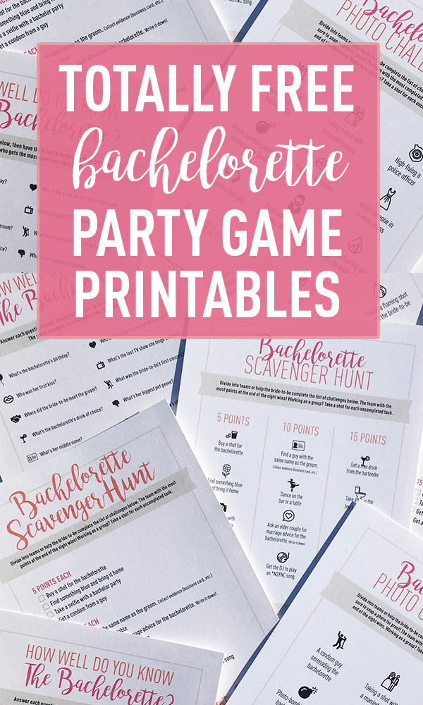 4 Totally Free Bachelorette Party Game Printables Stag Hen