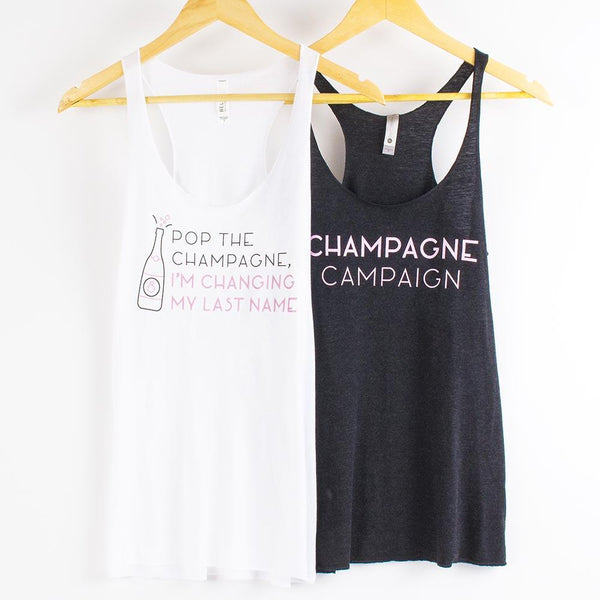 Bachelorette Party Favors | Champagne Campaign Tank Tops
