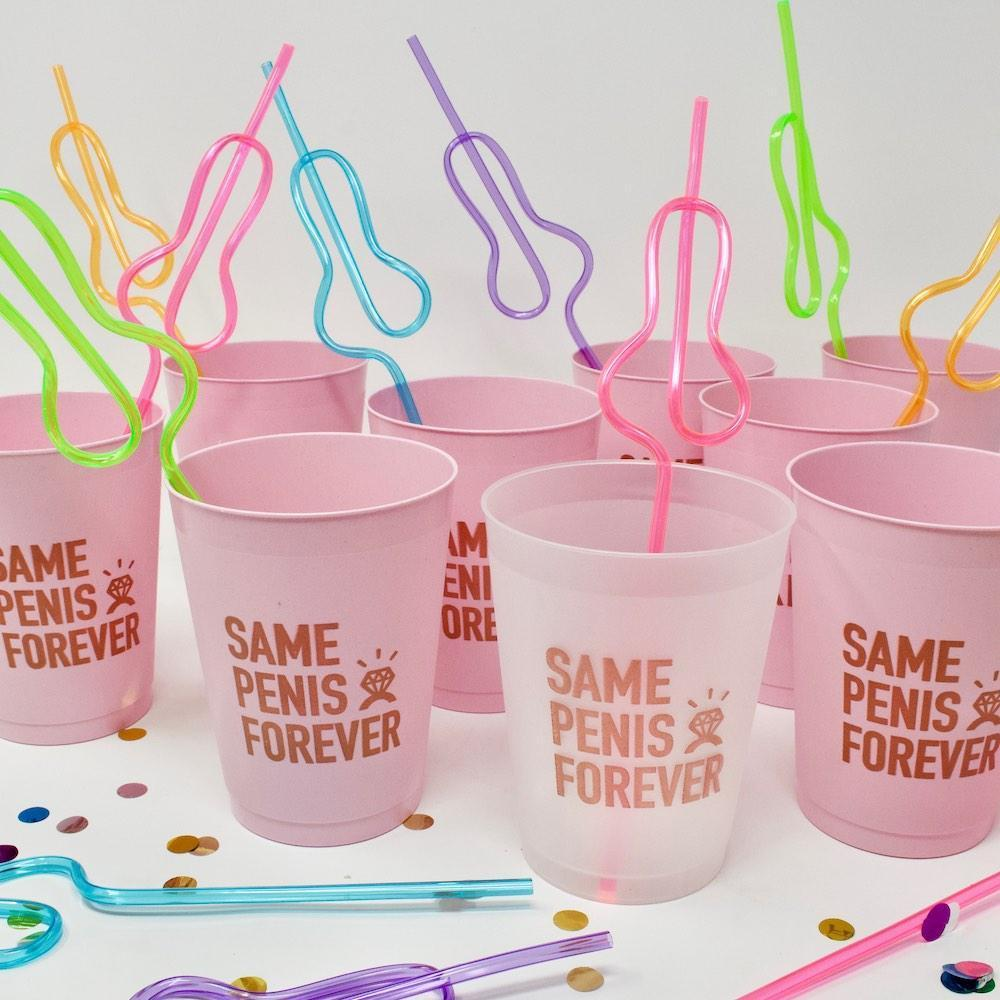 Best Bachelorette Party Gifts of 2020 | Same Penis Forever Party Straws
