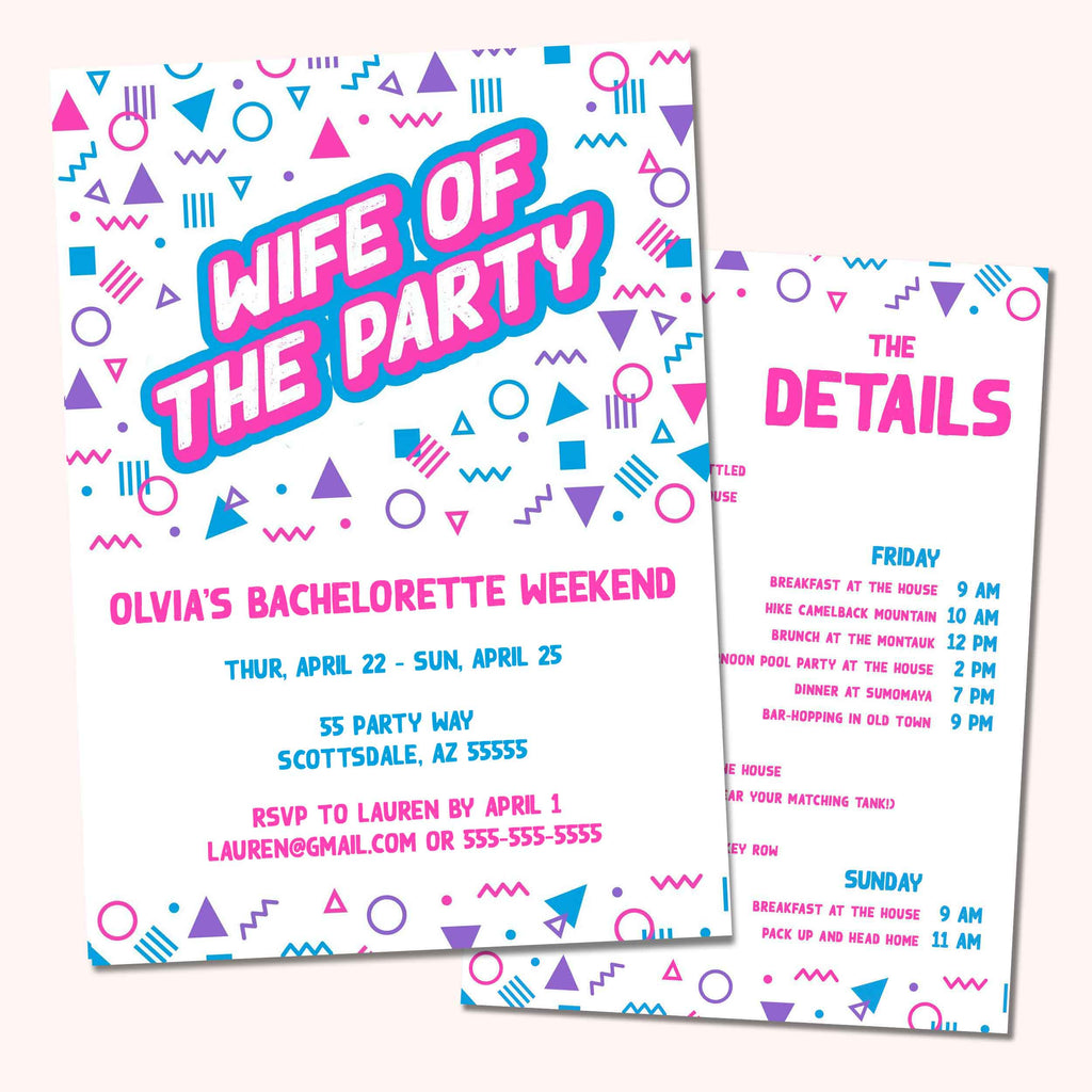 90s Wife Of The Party Bachelorette Party Invitation