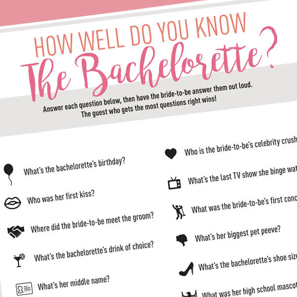 picture regarding Printable Bachelorette Party Games referred to as Bachelorette Occasion Video game Printable - How Very well Do Yourself Recognize The
