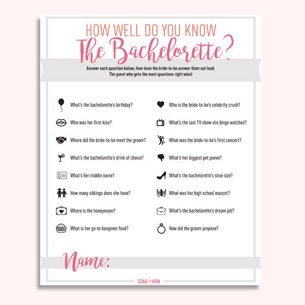 photo about How Well Do You Know the Bride Free Printable identified as 15 Cly Entertaining Tips for Bachelorette Bash Game titles Stag Rooster