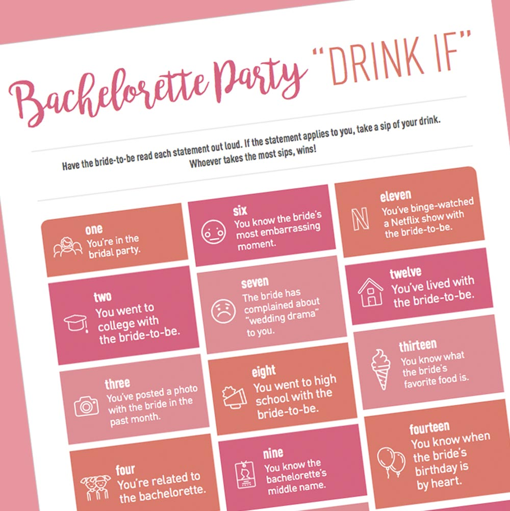 graphic relating to Free Printable Bachelorette Party Games known as Totally free Bachelorette Celebration Video games - Downloads Printables