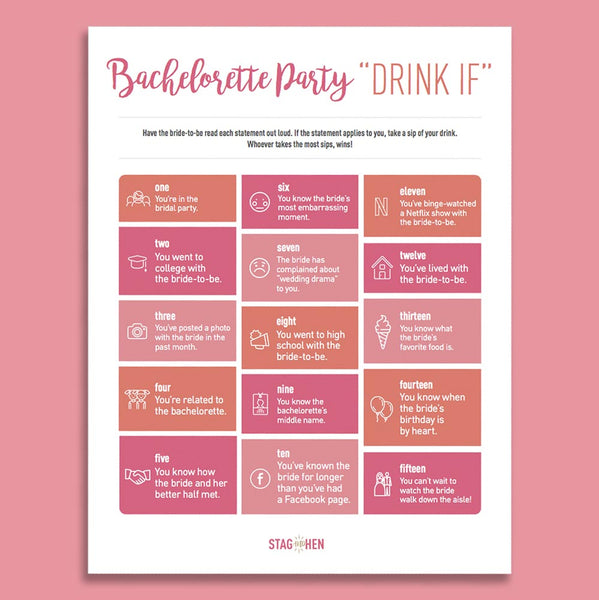 bachelorette party  u0026quot drink if u0026quot  game