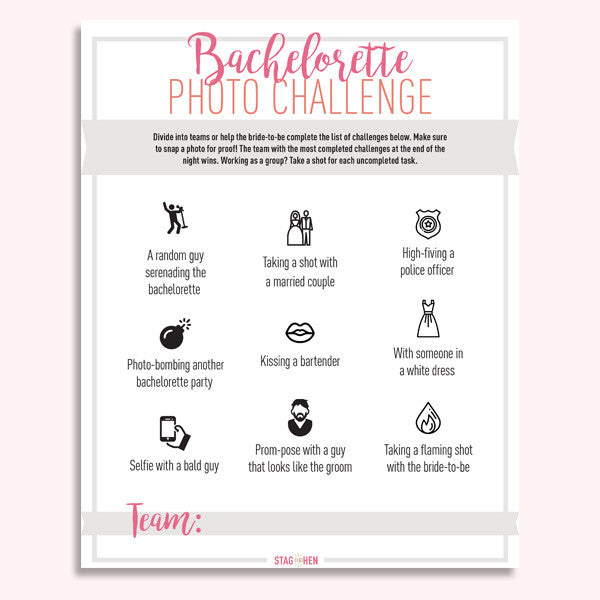 Bachelorette Photo Challenge - Free Digital Download - Stag & Hen