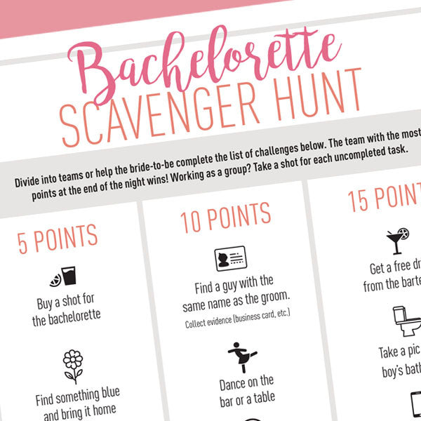 Bachelorette Scavenger Hunt - Free Digital Download - Stag & Hen