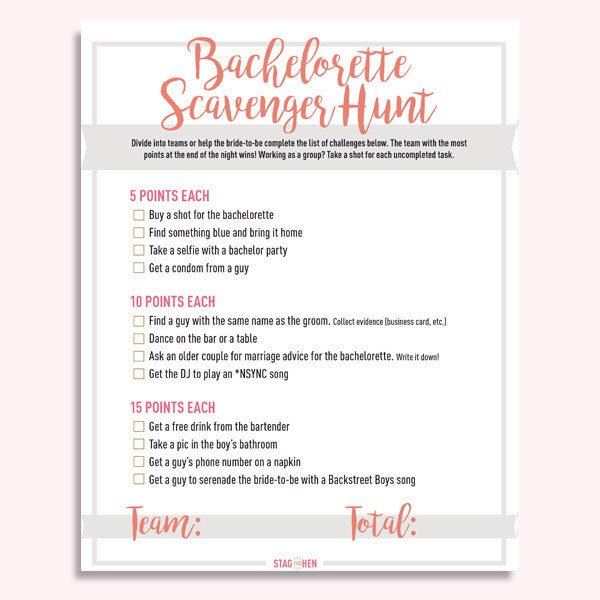 Bachelorette Party Scavenger Hunt