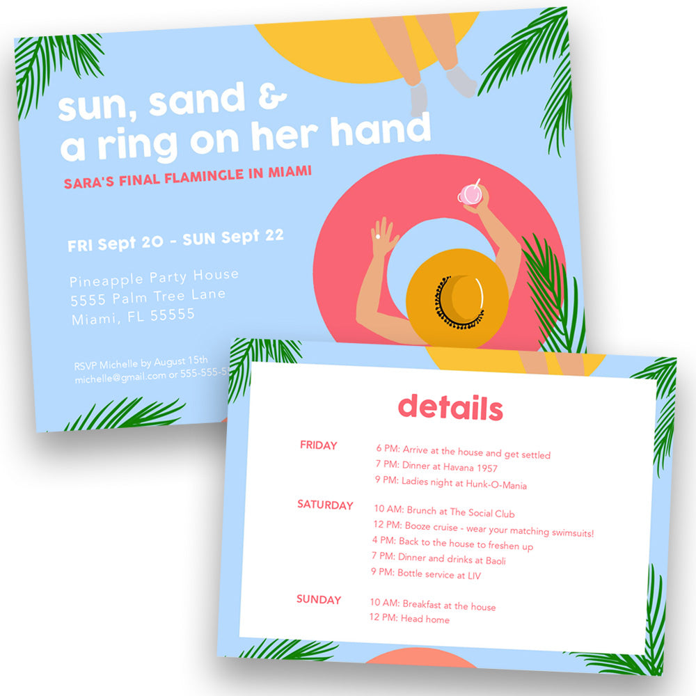 Beach Bachelorette Party Invitation | Digital Download | Printable PDF Party Invitation Template