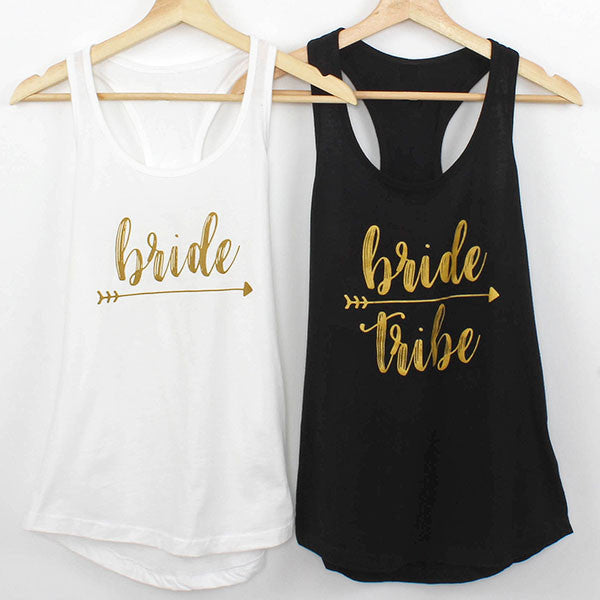 Bachelorette Shirts - Black & White Bride Tribe Tanks