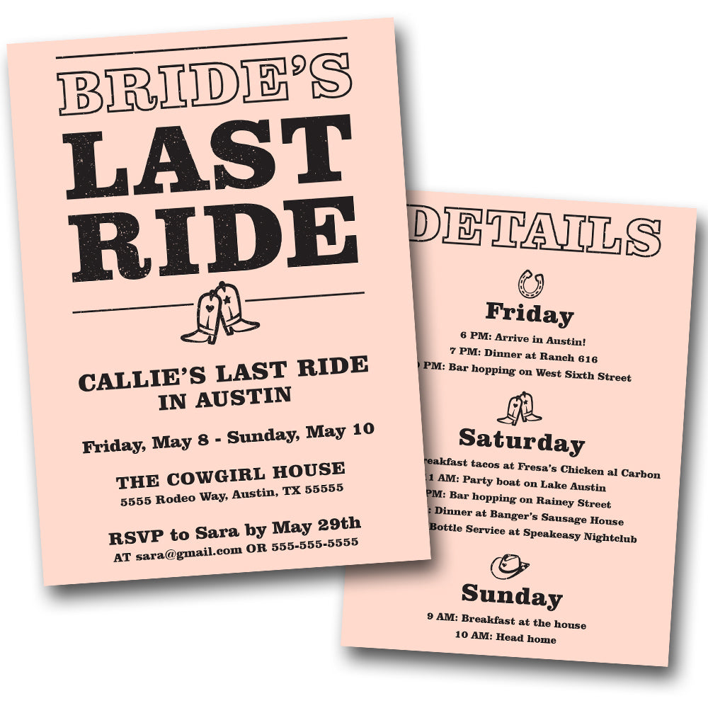 Bride's Last Ride Bachelorette Party Invitation | Digital Download | Printable PDF Party Invitation Template