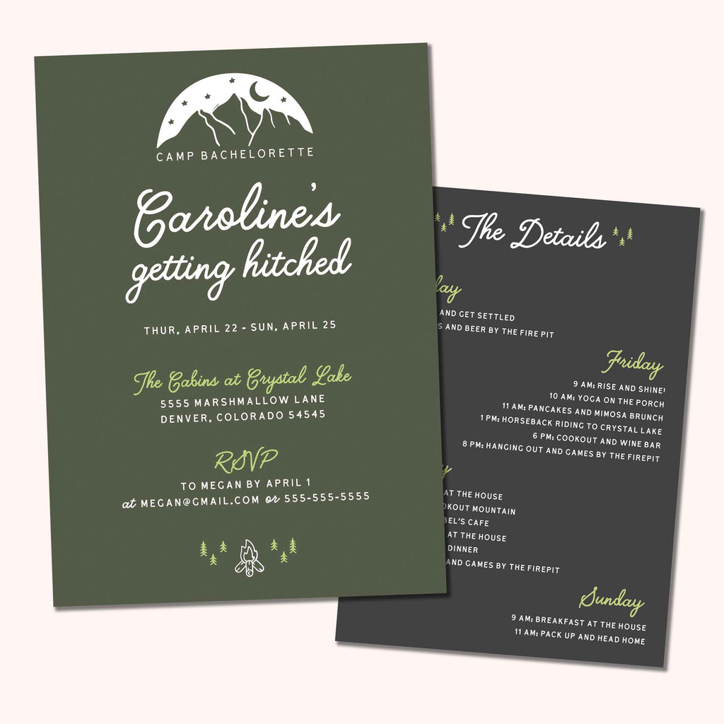 Camp Bachelorette Party Invitation