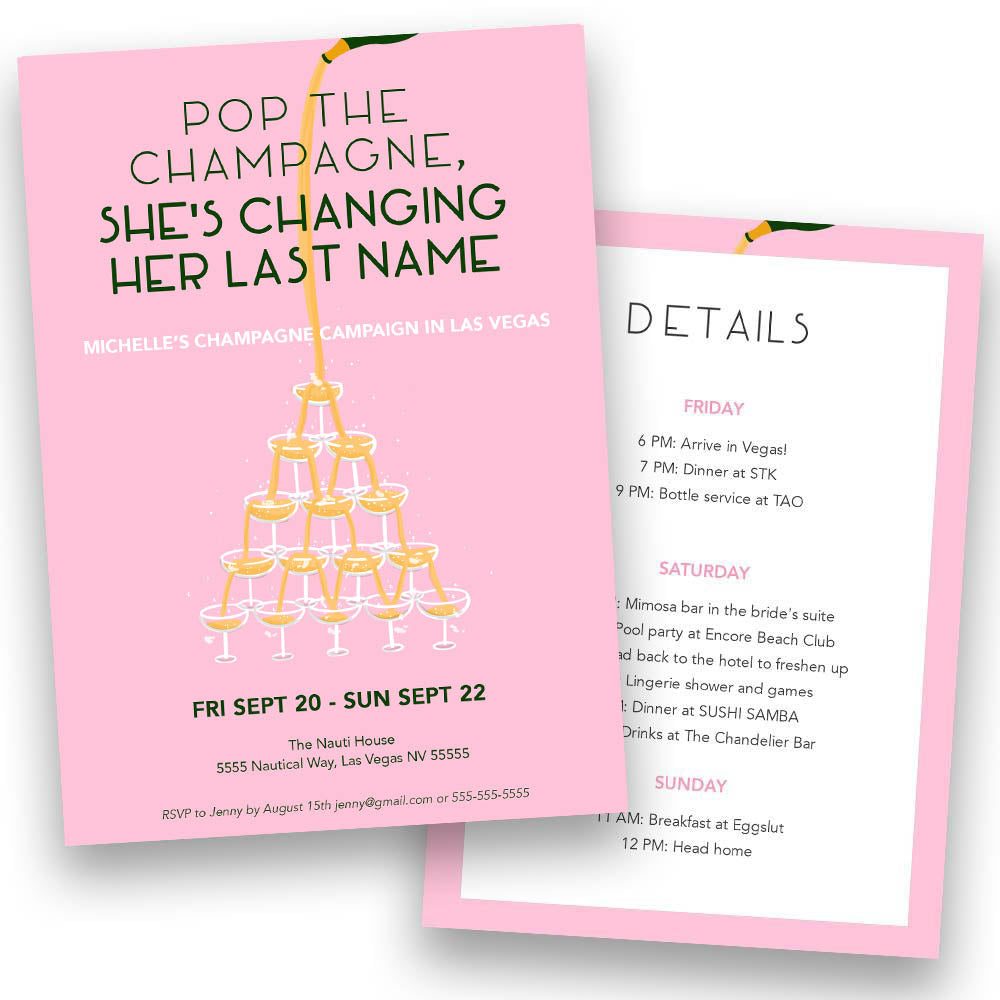Champagne Campaign Bachelorette Party Invitation | Digital Download | Printable PDF Party Invitation Template