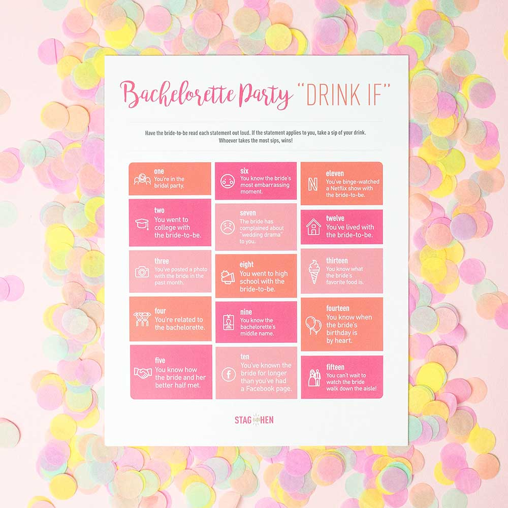 "Bachelorette Party ""Drink If"" Game - Free Digital Download"