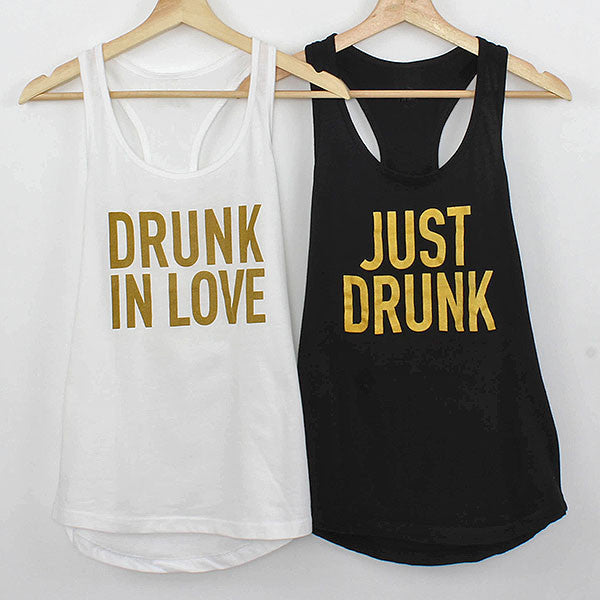 Bachelorette Shirts - Black & White Drunk in Love Tanks