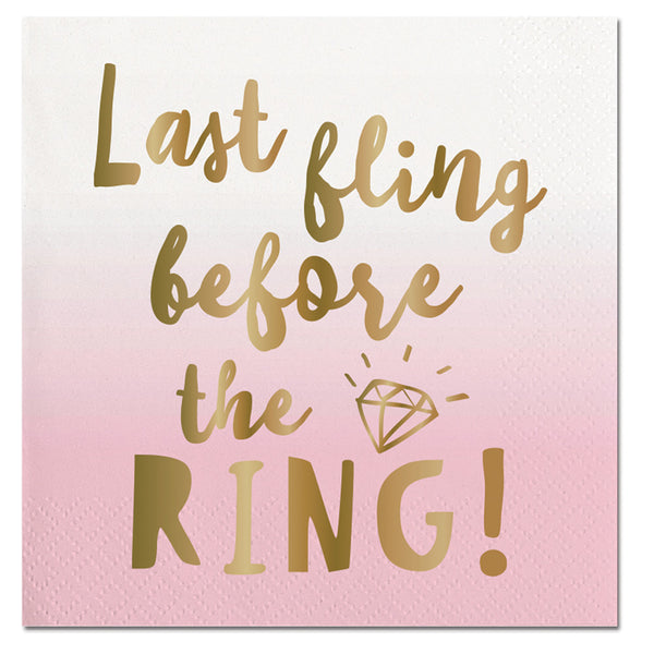Bachelorette Party Decor - Last Fling Before The Ring Napkins