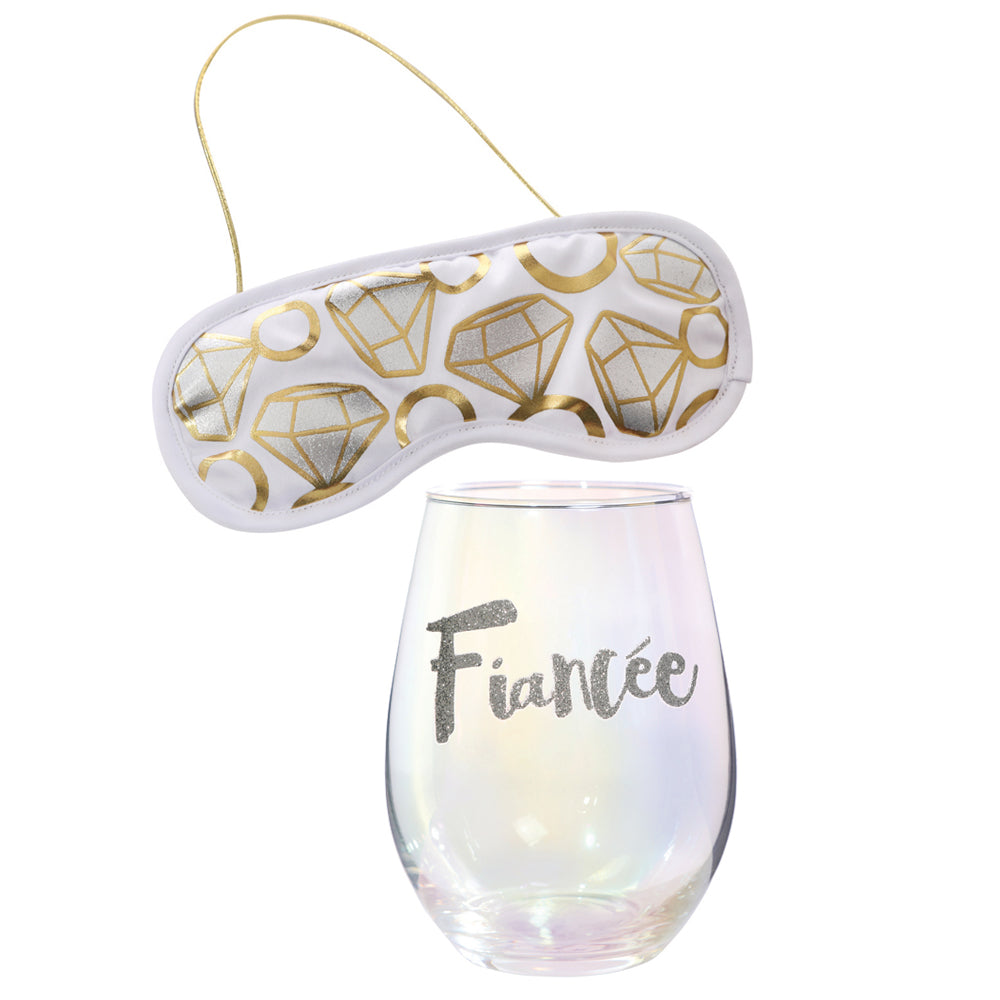 Finacée Wine Glass & Eye Mask Set - Stag & Hen