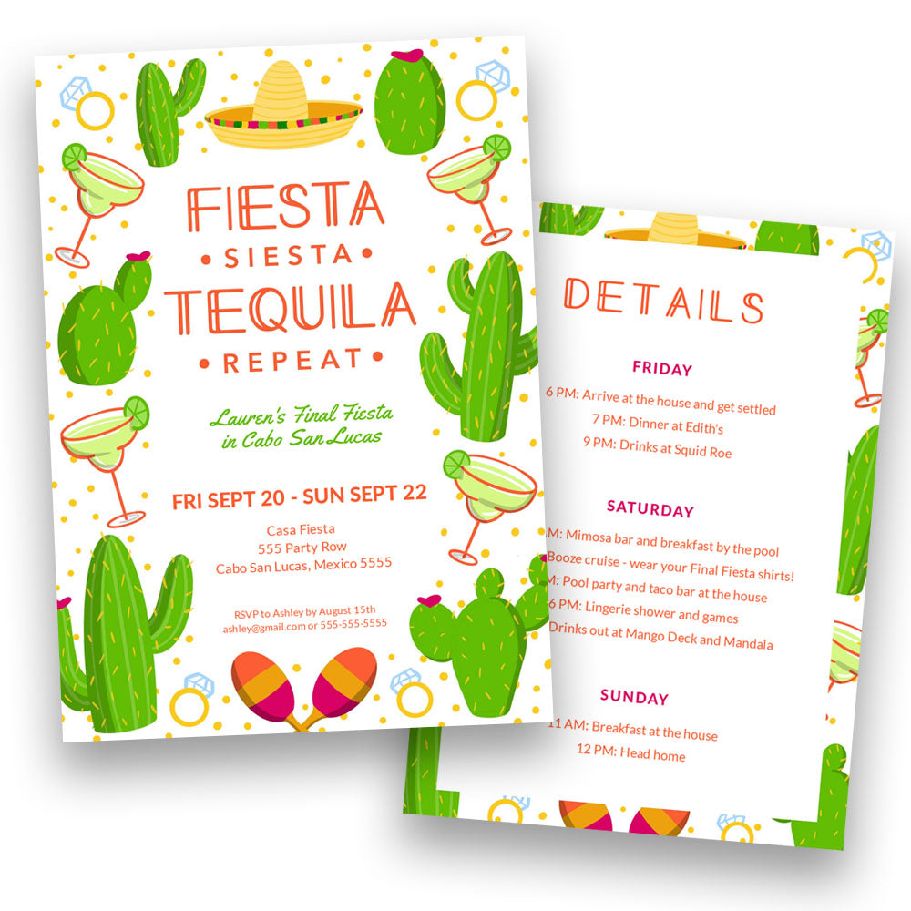 Fiesta Bachelorette Party Invitation | Digital Download | Printable PDF Party Invitation Template